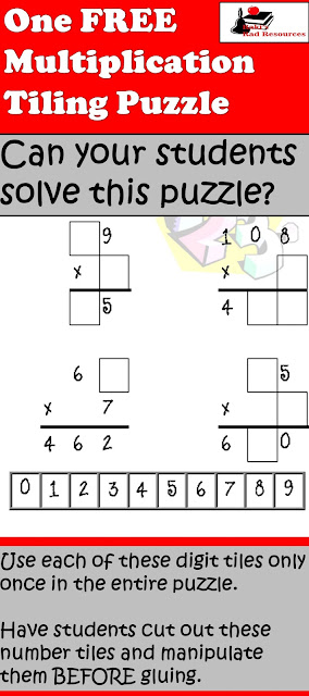 Free multiplication tiling puzzle to teach facts, critical thinking and pre-algebra skilsl from Raki's Rad Resources.