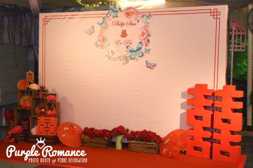 chinese oriental wedding decoration, backdrop, double happiness marquee, wooden crates, vintage, gramophone, red roses, logo, tarpaulin, decorator, vendor, passion road restaurant, reception table, stage backdrop, photo table, love corner, welcome board, photo booth, instant print, 4R, photo strip, design, layout, elegant,
