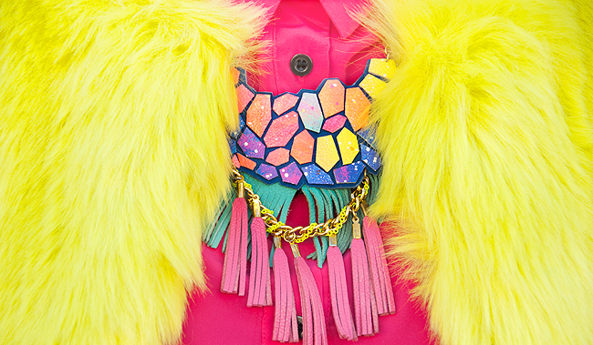 boo + boo factory, leather necklace, rainbow necklace