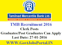 GOVT JOBS FOR CLERK POSTS UNDER TMB BANK RECRUITMENT 2016