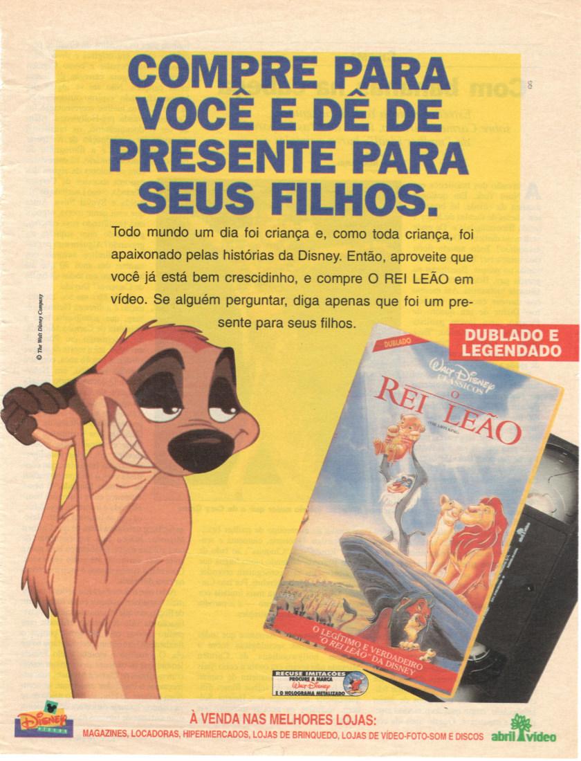 O clássico da Disney, O Rei Leão, em versão VHS para o ano de 1995