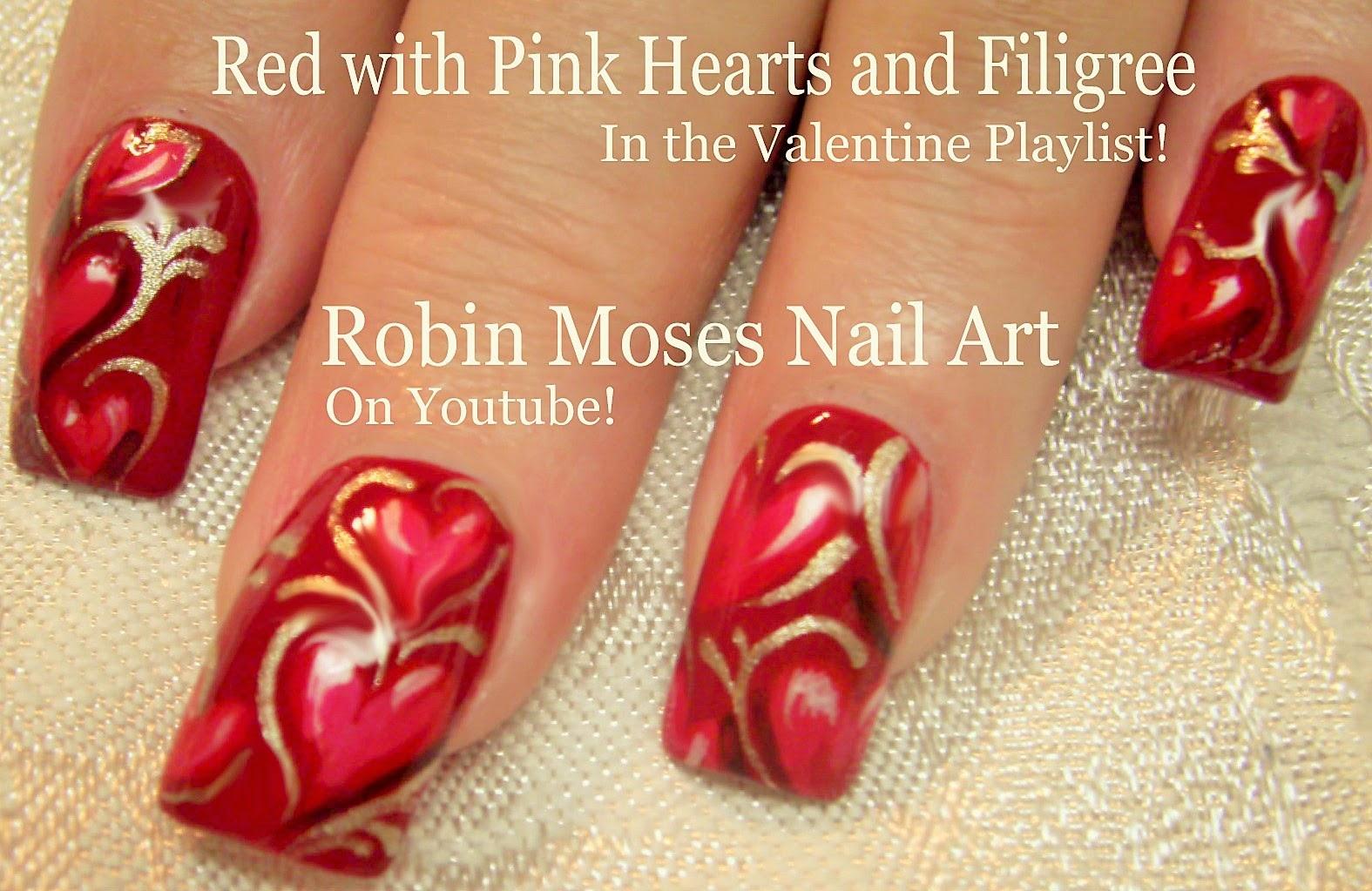 Nail Art By Robin Moses Valentine Nails Valentine Nail Art
