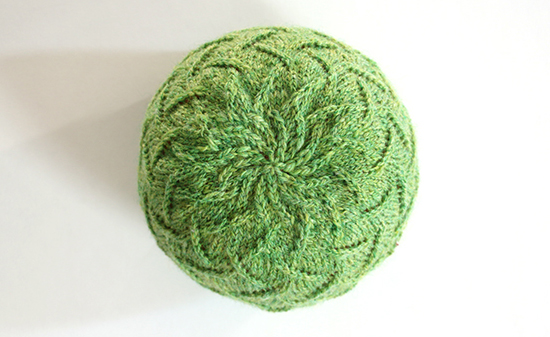 Knitted Irma Hat in Green Handspun Wool Yarn