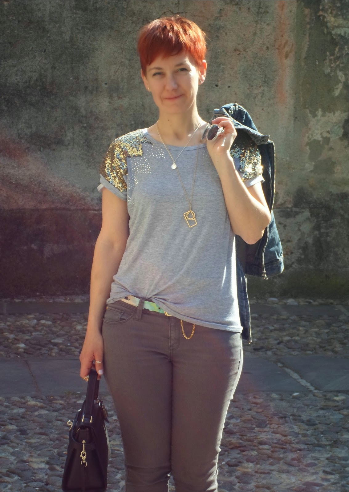 Sequin Shirt, Grey Skinnies, Black Bag, Mirror Sunglasses at Iseo, Lake Iseo | Sparkle and Mirrors - Sequins for Sunday, Funky Jungle, fashion & personal style blog
