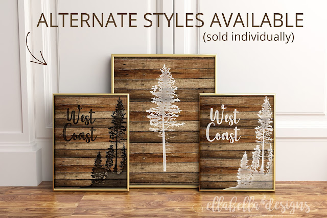 Vancouver Island Wood Pallet West Coast Tree Wall Art Printable by Ellabella Designs