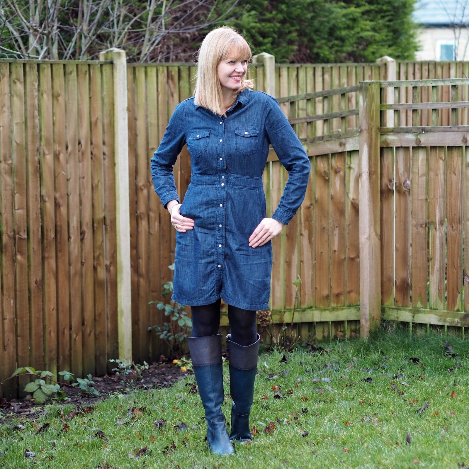 Boden denim shirt dress with knee-high boots