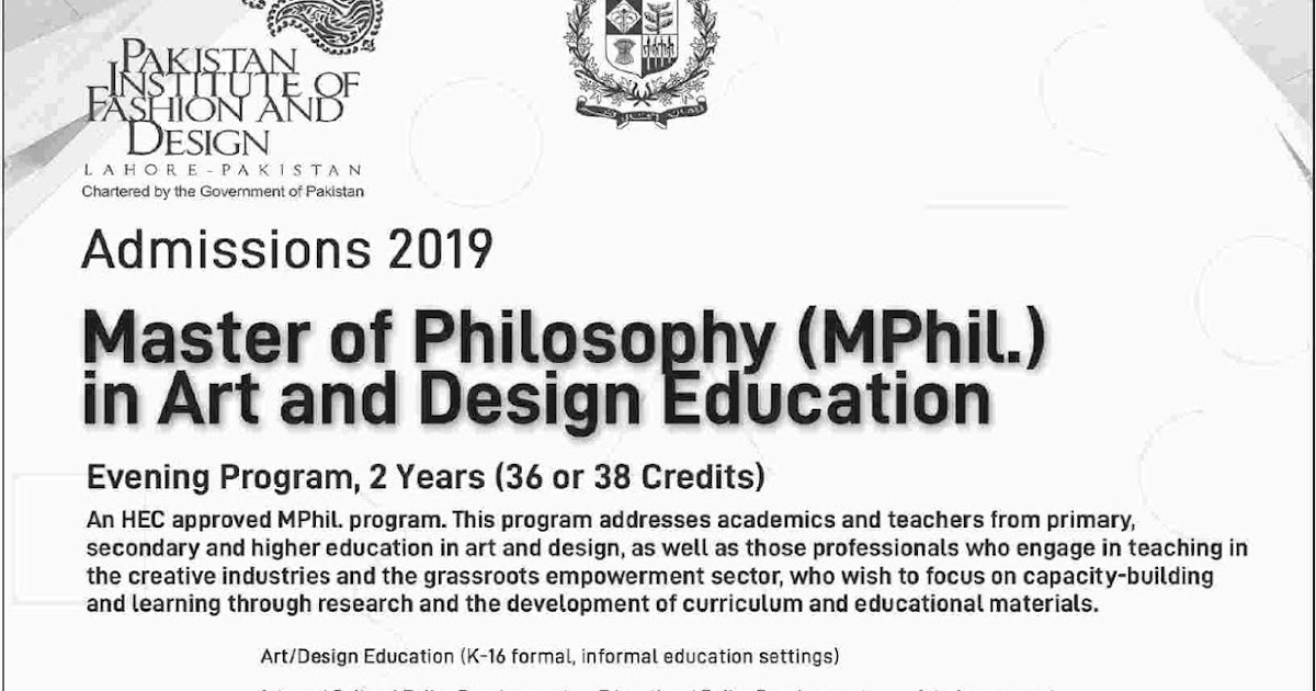 Pakistan Institute Of Fashion And Design Admissions For 2019 In Master Of Philosophy M Phil Computer Zila