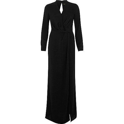 river island black evening dress,