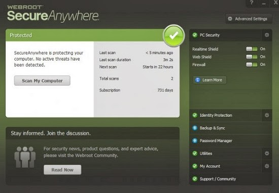Webroot SecureAnywhere AntiVirus is a recommended tool to scan your system for possible threats and crappy software. The trial version of the product will find harmful applications in your system.