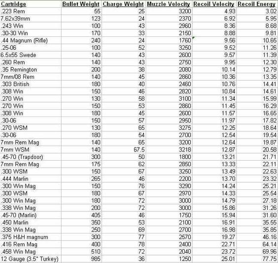 Cartridge Ammo Bullet Velocity Chart Rifle