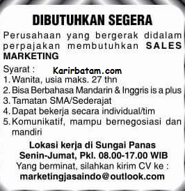 Lowongan Kerja Sales Marketing Sungai Panas