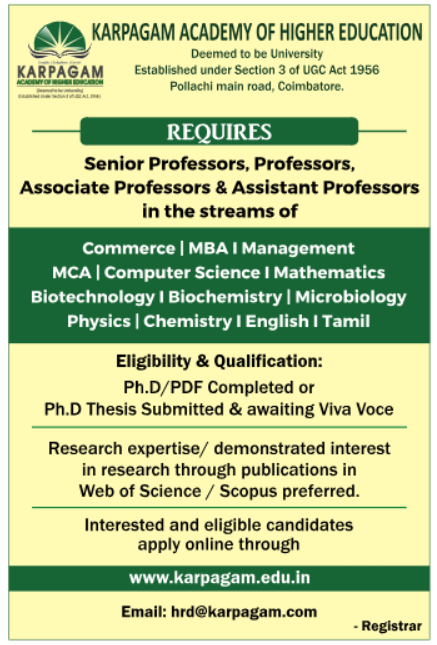 Karpagam Academy of Higher Education, Coimbatore, Wanted