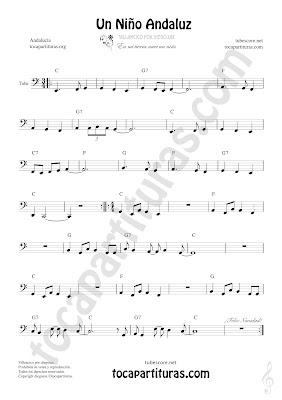 Tuba y Contrabajo Partitura de Un Niño Andaluz 8ª baja Clave de Fa Sheet Music for Tuba and Flugelhorn Contrabass