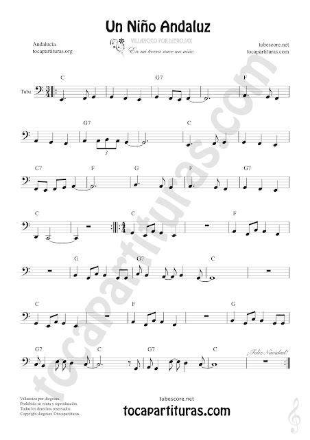 Un Niño Andaluz 8ª baja Clave de Fa Sheet Music for Tuba and Flugelhorn Contrabass
