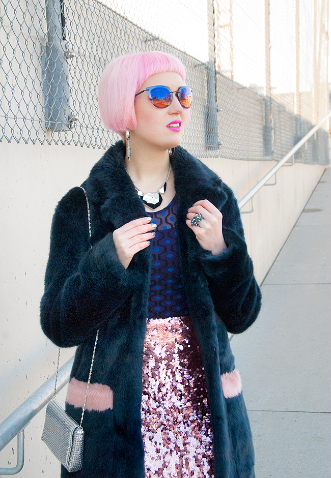 winter look, Shrimps coat, faux fur coat