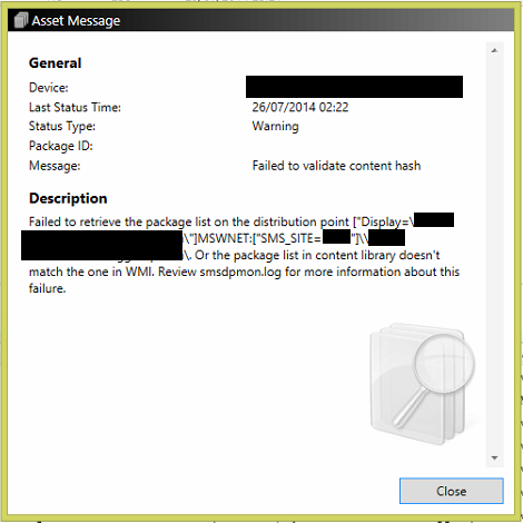 Failed to validate content hash on ConfigMgr Distribution Points after Content Validation 3