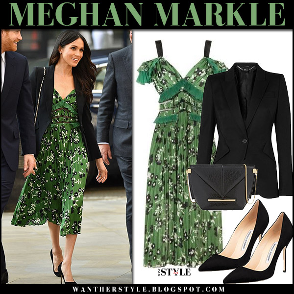 Meghan Markle wears green floral print midi dress self portrait and black jacket alexander mcqueen royal family fashion april 21