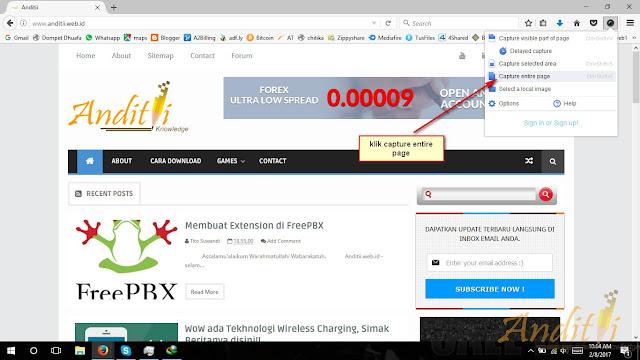 Cara Mengambil Screenshot full halaman website-anditii.web.id