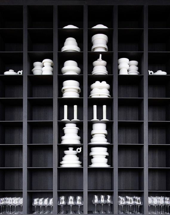 Black shelving via Piet Boon