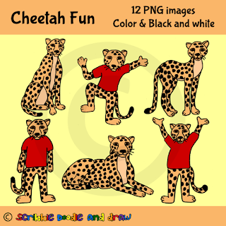 clip art images of cheetahs sitting and cheetah wearing shirts