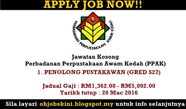 Jawatan Kosong Perbadanan Perpustakaan Awam Kedah (PPAK)