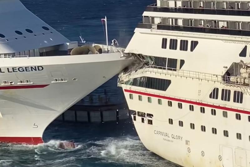 Video: Dos cruceros de Carnival chocan en México