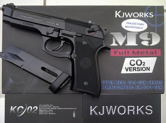 KJ Works Airsoft KP-08 Green Gas Magazine 28rd Black 6mm bb/'s