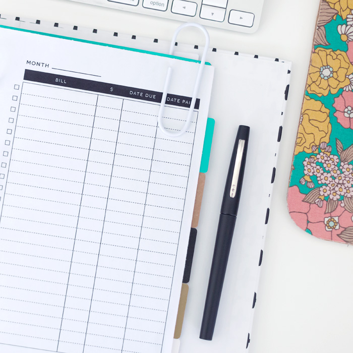 Free Printable Bill Tracker for A5 Planners in 3 Styles / LBG STUDIO