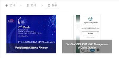 penghargaan yang di terima sinar mas msig life tahun 2014