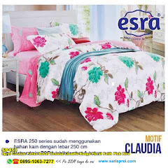 Sprei Custom Katun Lokal Dewasa Claudia Bunga Floral Putih Pink Biru