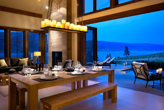 Cozy Wooden Dining Sets With Benches in Dining Room near the Terrace Area and Outdoor Long Pool