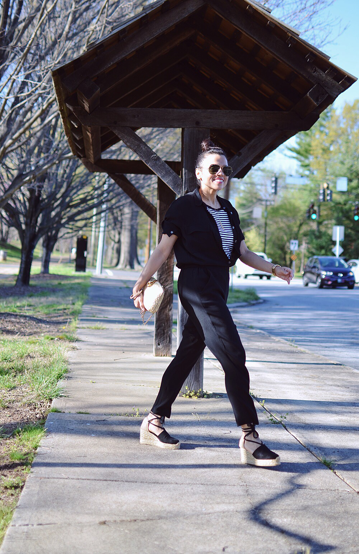 Black jumpsuit street style
