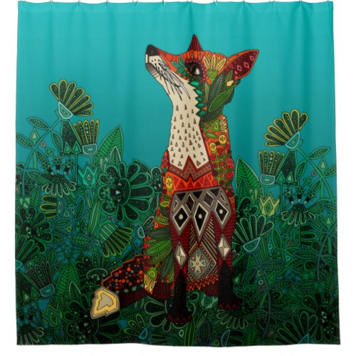 Floral Fox Shower Curtain