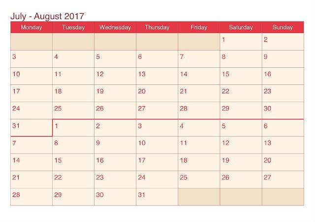 July 2017 printable calendar, August 2017 printable calendar, September 2017 printable calendar
