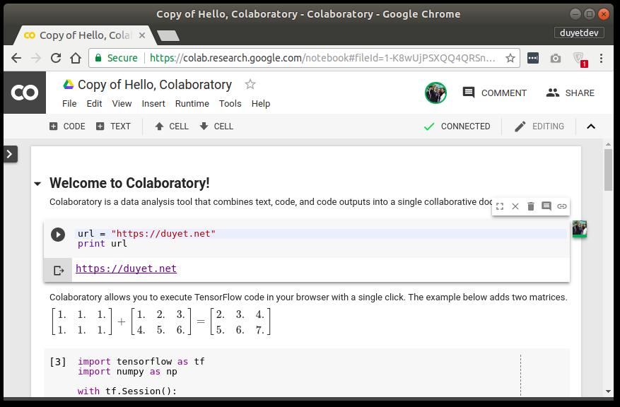 Colaboratory - phiên bản custom của Jupyter Notebook từ Google