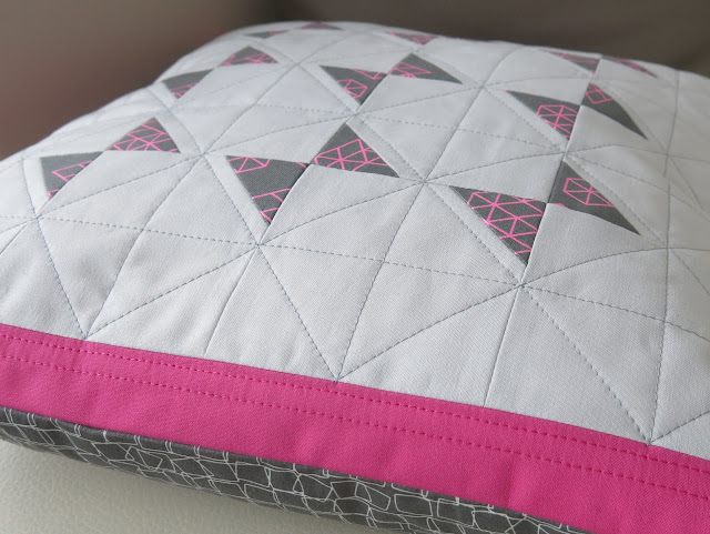 Luna Lovequilts - Butterfly quilted cushion - Quilting close-up