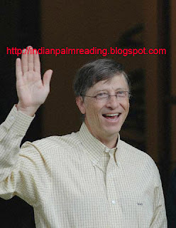bill gates sun line and fate line denotes millionaire sign gajkesari yog and mahalaxmi yog
