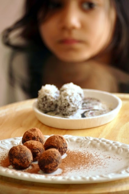 Chocolate Nariyal Laddoos For Diwali (Chocolate coconut truffles)