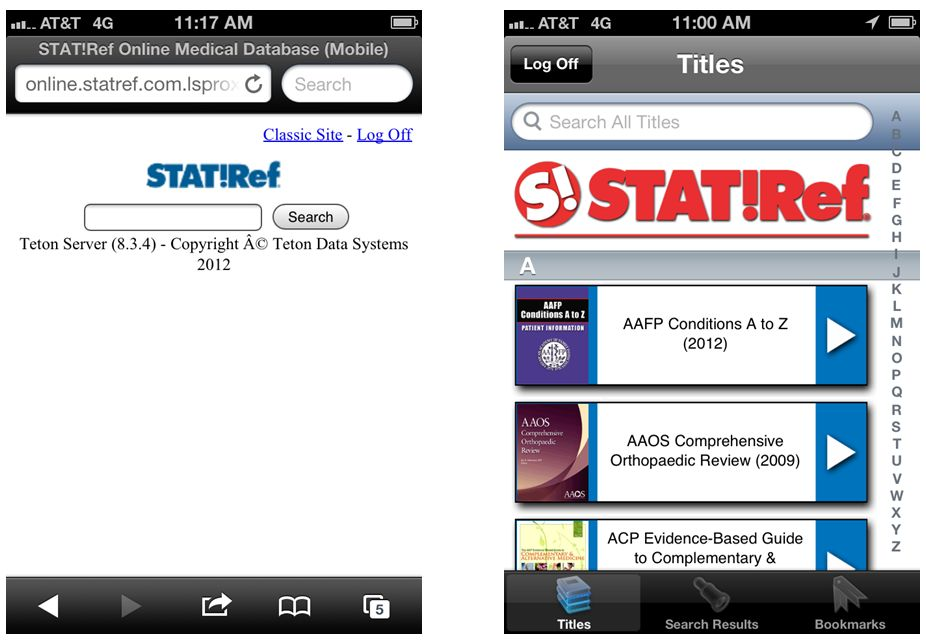 Sample screens of STAT!Ref mobile page and iPhone App