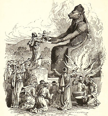 I can't find the source of this image, which seems to be an engraving. It's widely used throughout the web, often captioned as illustrating the Moabite god Chemosh receiving the sacrifice of a child.