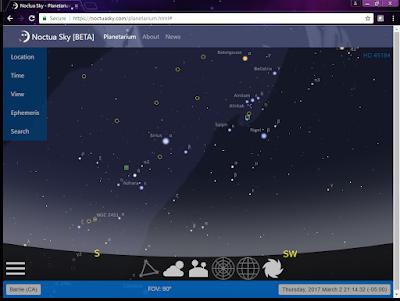 screen snapshot of Noctua Sky running in Chrome