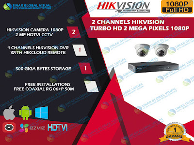 HIKVISION, 2 CAMERA, PAKET CCTV HIKVISION, PAKET HIVVISION ASLI, PAKET CCTV HIKVISION MURAH
