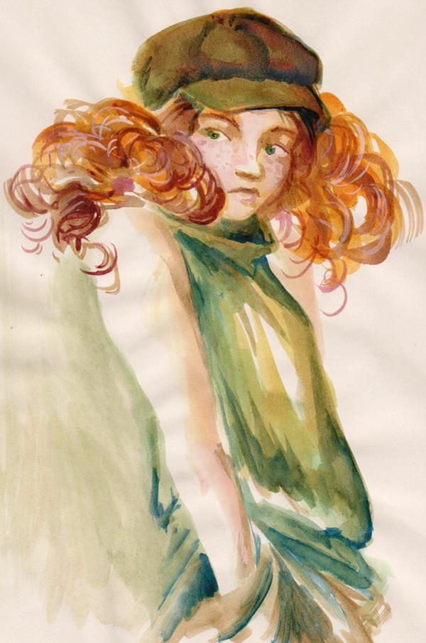 jeune fille rousse boudeuse - dessin à l'encre