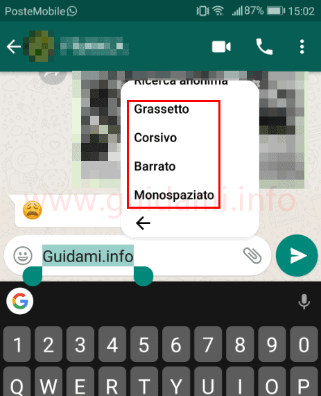 WhatsApp formattare testo