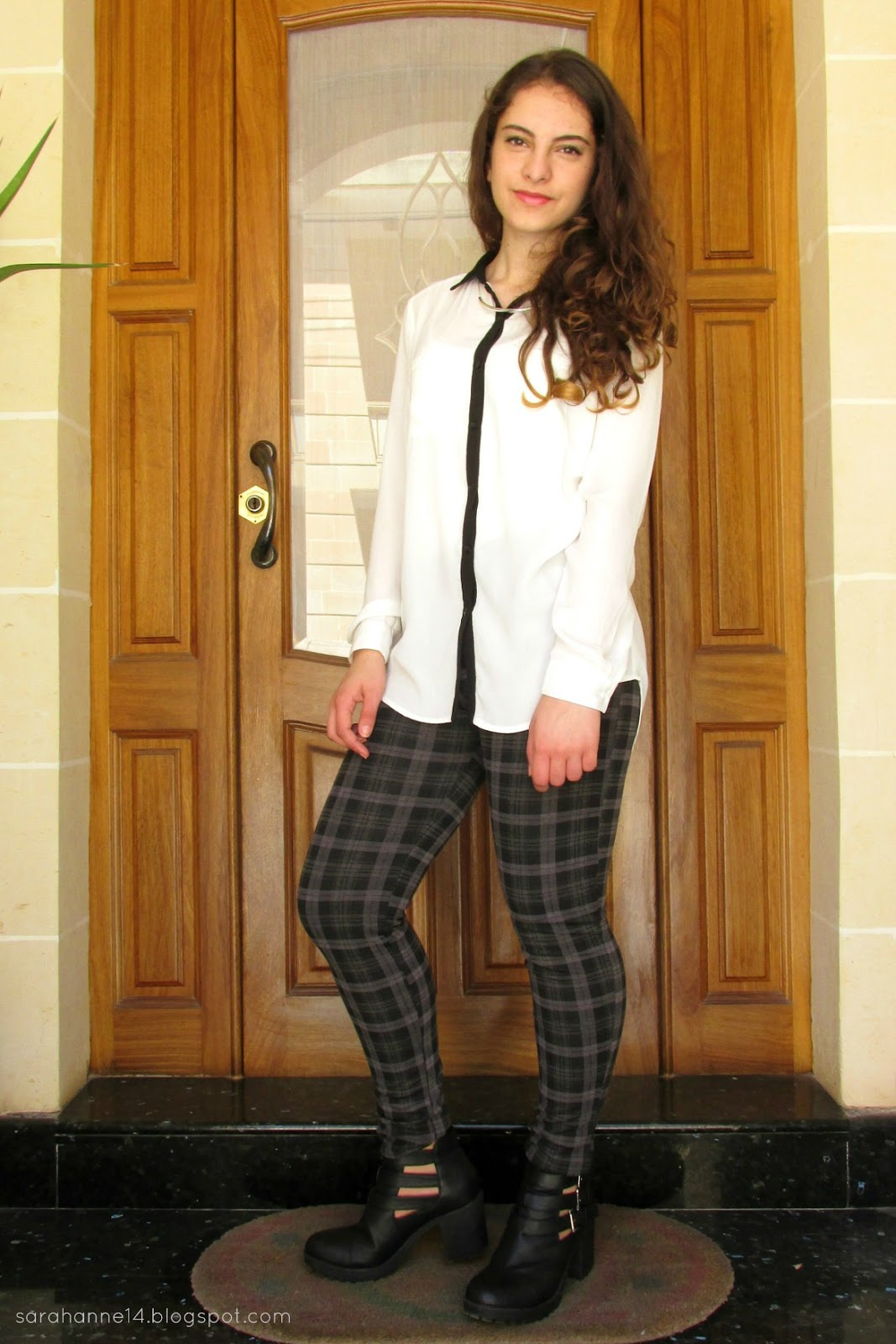fashion, Boutique of Molly, tartan trousers, New Look boots, Pimkie blouse, monochrome, silver bar necklace