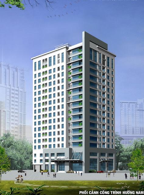 Phối cảnh tòa nhà 282 Nguyễn Huy Tưởng hướng Nam