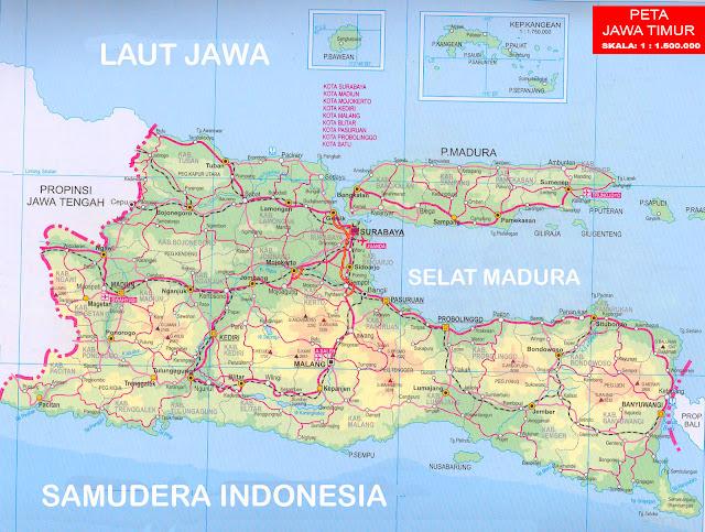 Gambar Peta Jawa Timur versi atlas