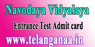 Navodaya Vidyalaya Entry Test Admit Card 2017