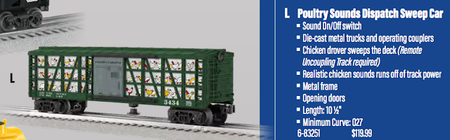 Poultry Sounds Dispatch Sweep Car - 2018 Lionel Catalog