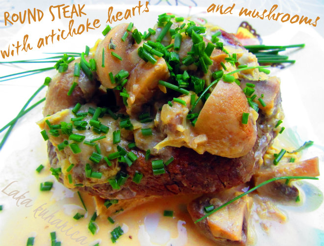 Round steak with artichoke hearts and mushrooms by Laka kuharica: cooked in wine and served on top of the naan bread.